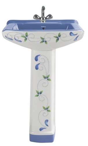 Bathroom Printed Pedestal Wash Basin