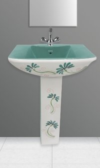 Dyna Set Aqua Green Pedestal Wash Basin