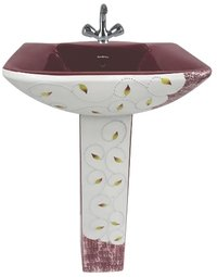 Burgundy Color Printed Pedestal Wash Basin