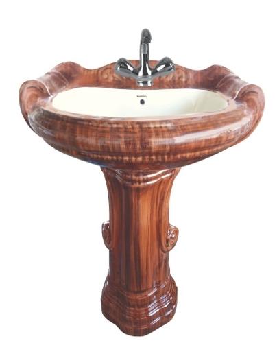 Big Sterling Set Red Wooden Pedestal Wash Basin