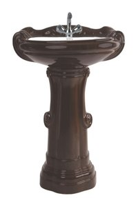 Big Sterling Set Black Wooden Pedestal Wash Basin