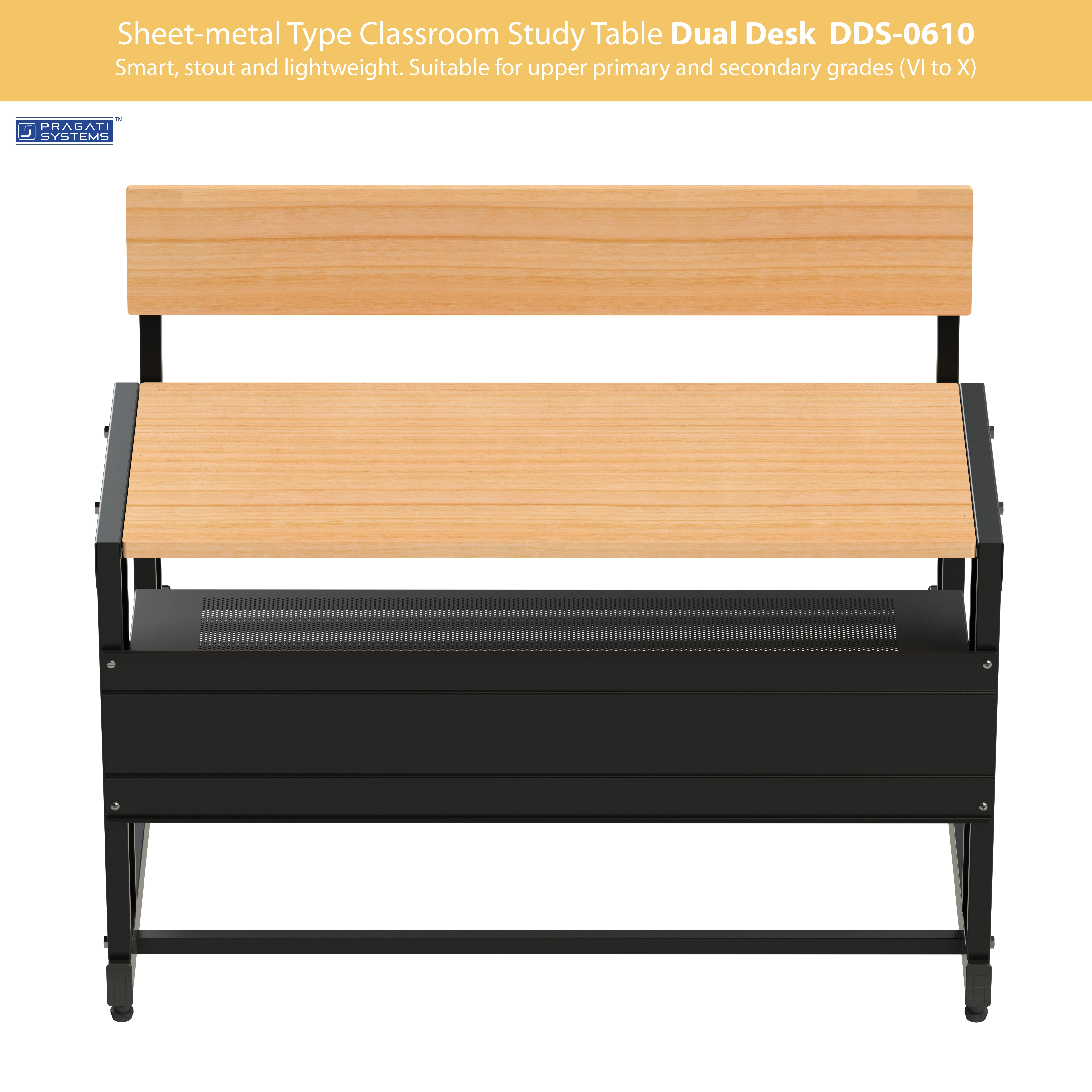 Sheet-metal Classroom Study Dual Desk DDS-0610