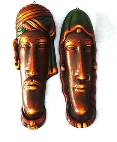 Rajasthani Face set of 2 Gray Finish
