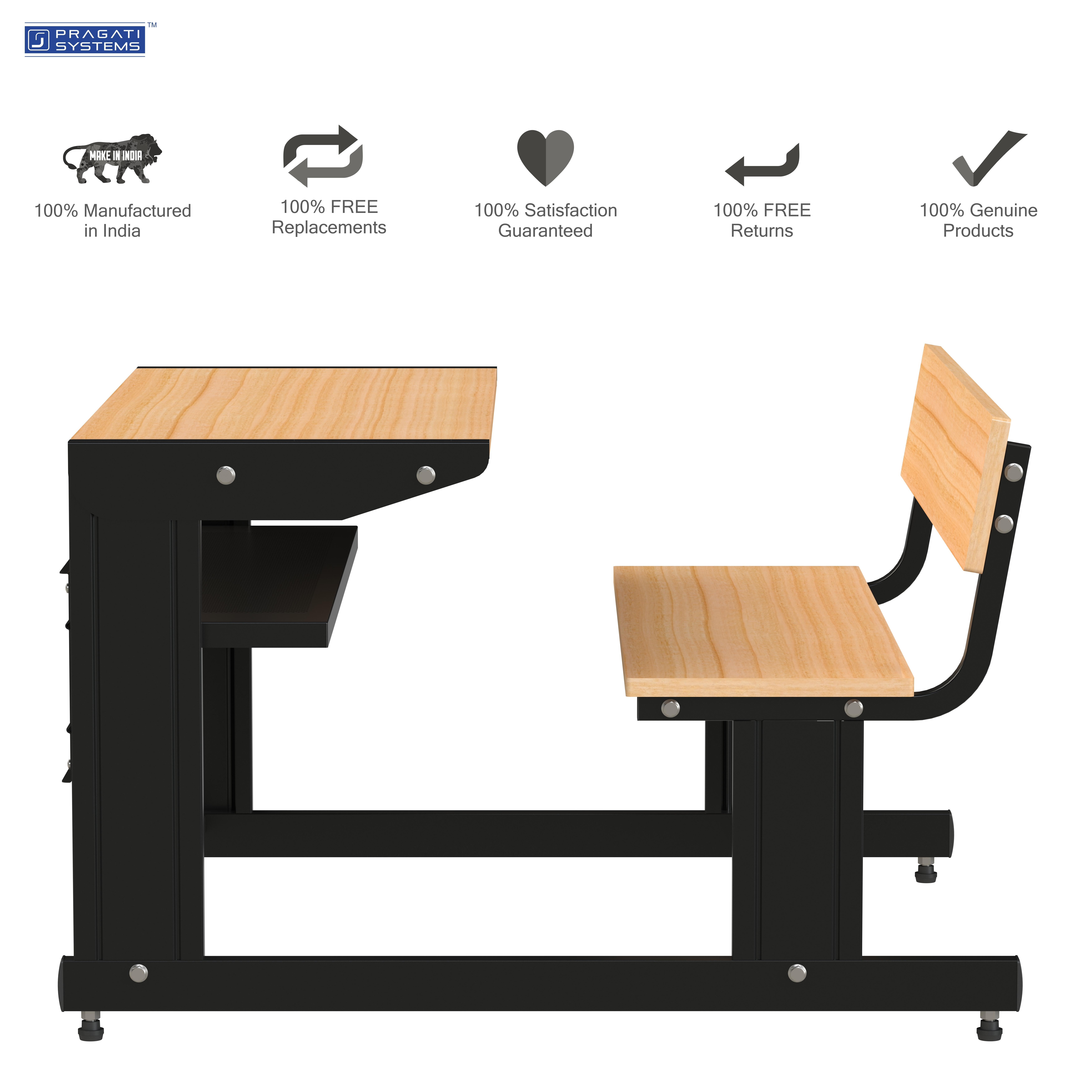 Sheet-metal Classroom Study Dual Desk DDS-1112