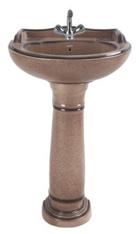 Coffee Brown Rustic Pedestal Wash Basin