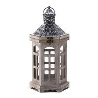 Eastwind Gifts Hex Top Wood Candle Lantern