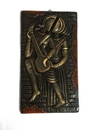 Home Decorative Terracotta Wall Hanging Plate Dancing Musical Couple Modern Art Gray Finish
