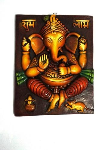 Handmade Home Decorative Terracotta Ganesha with Shubh Labh Wall Hanging