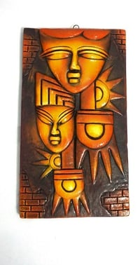 Home Decorative Terracotta Wall Hanging Plate Egyptian Modern Art Faces Natural Finish