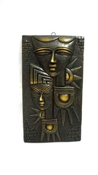 Home Decorative Terracotta Wall Hanging Plate Egyptian Modern Art Faces Gray Finish