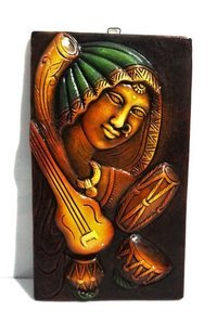 Home Decorative Terracotta Wall Hanging Plate Musical Lady Natural Finish