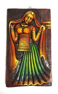 Home Decorative Terracotta Wall Hanging Plate Rajesthani Lady