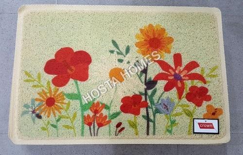 Flower Print Pvc Rubber Door Mat