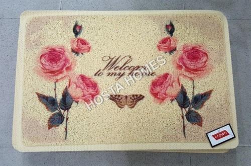 Rose Printed Pattern Pvc Rubber Door Mat