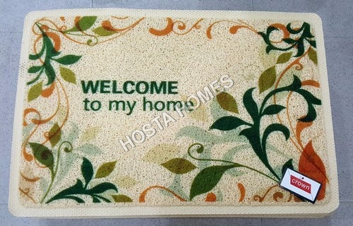 Welcome & Leaf Design Print Pvc Mat