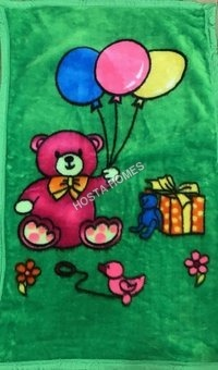 Cartoon Print Super Soft Baby Mink Blanket Green Color