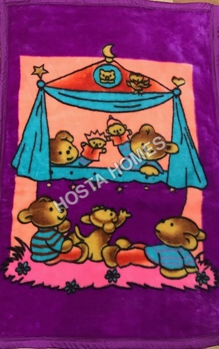 Purple Color With Cartoon Print Super Soft Baby Mink Blanket