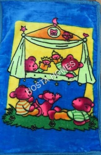 Royal Blue Cartoon Print Super Soft Baby Mink Blanket