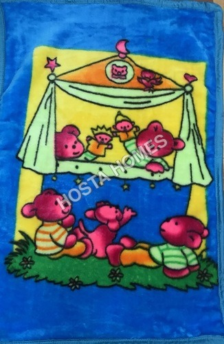 Royal Blue Cartoon Print Super Soft Baby Mink Blanket