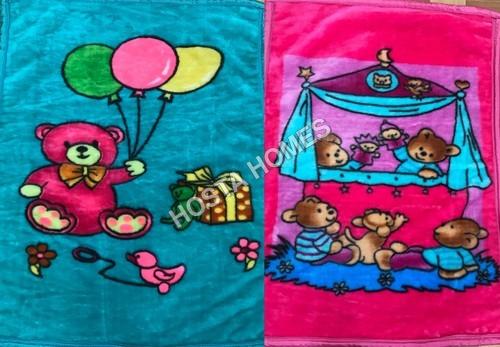 Super Soft Baby Mink Blanket Cartoon Print Combo Set Of 2(Sky Blue& Orange)