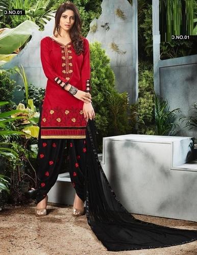 Designer Cotton Patiyala Suit
