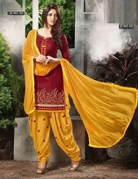 Cotton Embroidered Patiyala Salwar Kameez