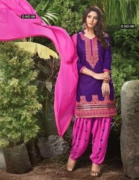 Beautifully Embroidered Cotton Patiyala Suit