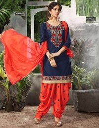 Navy Blue & Orange Combo Patiyala Salwar Kameez