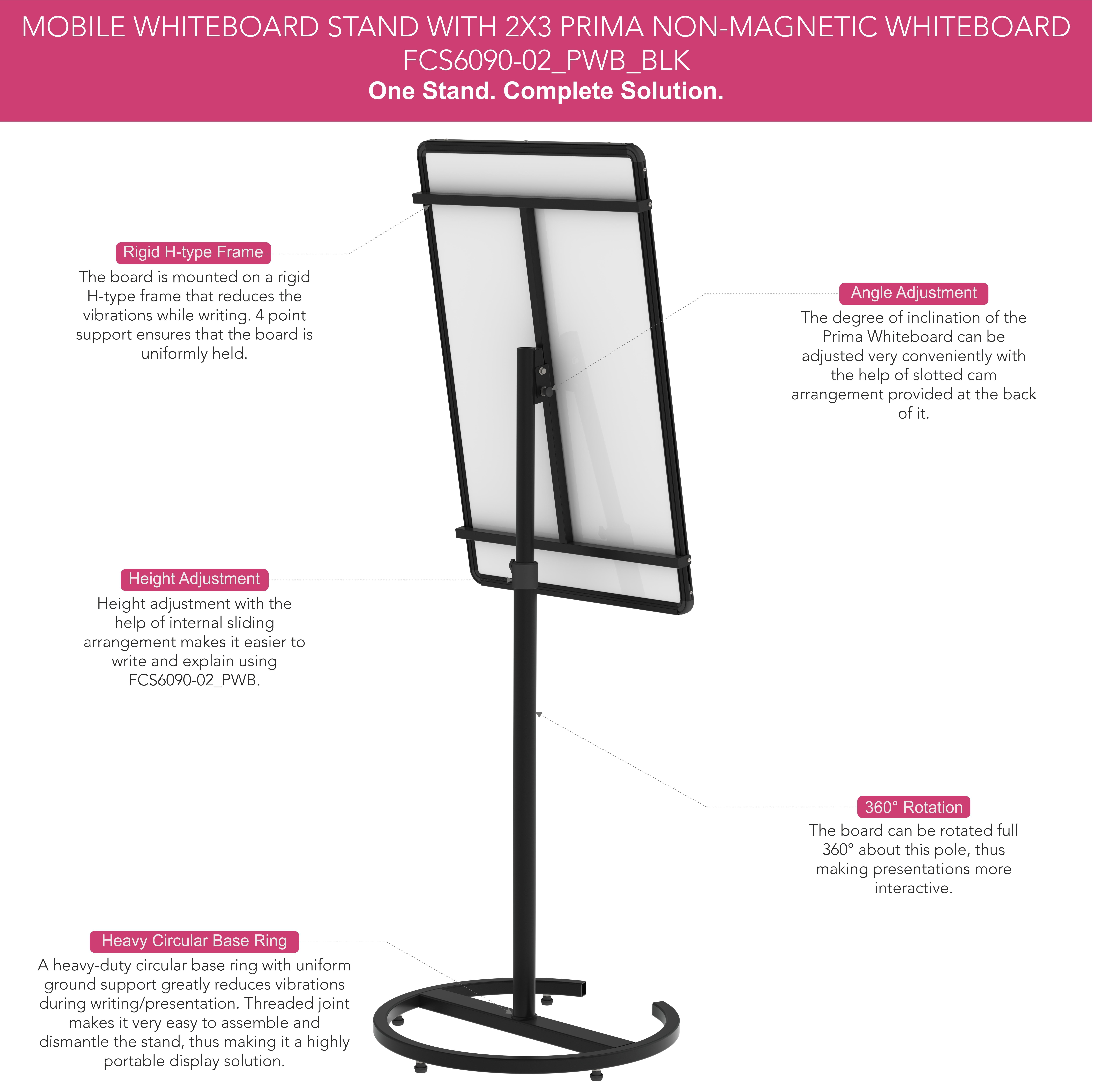 Portable Melamine Whiteboard Presentation Stand
