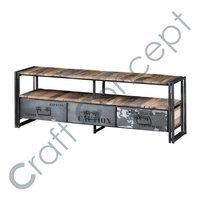 RECLAIM WOOD & METAL TV CABINET
