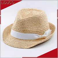 Wholesale custom summer kids felt trilby straw mini fedora hat