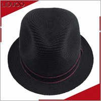 Promotional custom logo band beach fedora foldable wheat straw hat