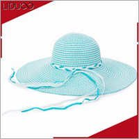 Promotional asian women floppy luffy boater mini straw hat