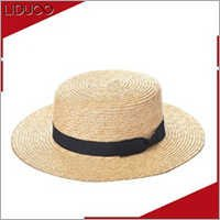 Cheap european beach style raffia boater cap body straw luffy hat