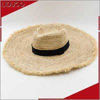 wholesale sun floppy wide brim seagrass boater raffia straw hat