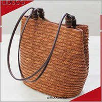 Taiwan ladies women beach mesh cork straw wide strap tote bag
