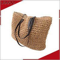 Ladies beach women knitting quilted straw cork beach bag tote