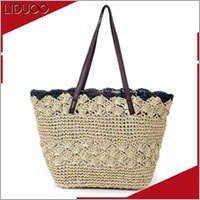 Women beach utility knitting quilted straw handbag tote bag