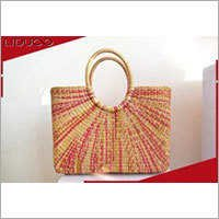 Fashion eco straw printed handled wholesale bags kids tote bag