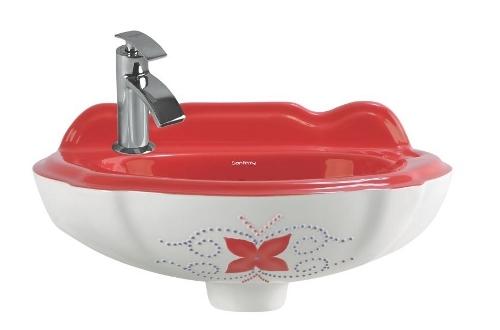 Red Color Vitrosa Wash Basin