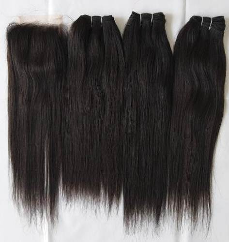 Indian Natural Straight Hair and swiss lace transparent closure