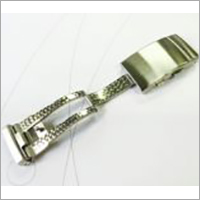 Stainless steel fold over clasp with push button