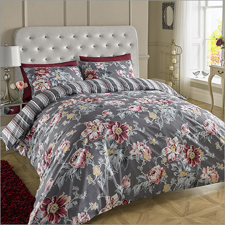 Dark Grey Printed Bed Sheets