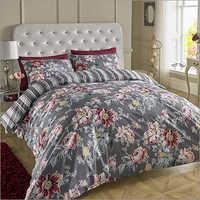 Dark Grey Printed Bed Sheets