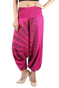 Poly Crepe Mandala Afghani Trouser Party Wear Pink Harem Trouser
