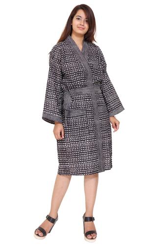 Cotton Short Kimono Robe Hand Block Print