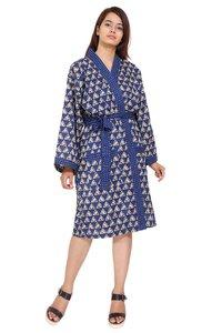 Cotton Kimono Robe Short Hand Block Print