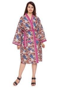 Pink Short Cotton Kimono Robe
