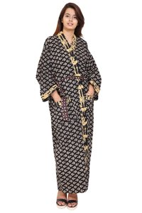 Cotton Black Long Kimono Robe