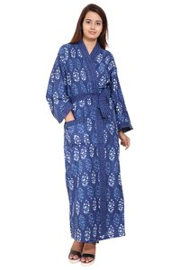 Blue Long Cotton Kimono Robe